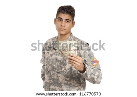 Smiling Soldier holding tablet