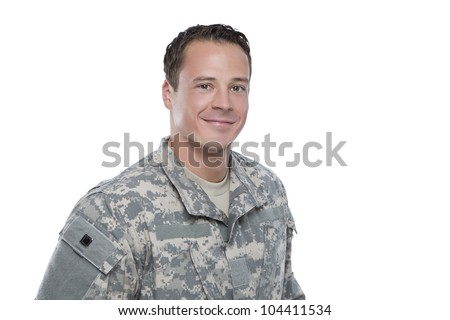 Smiling Soldier on white background - stock photo