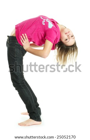 Smiling stretching teenage girl on white background
