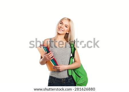 smiling student girl with book and bag isolated - stock photo