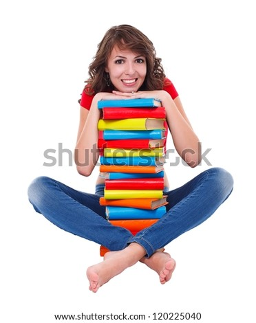 Smiling student girl with plenty of books over white background - stock photo