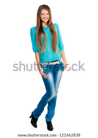 smiling student looking at the camera on a white background - stock photo