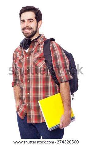 Smiling student on white background - stock photo