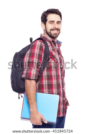 Smiling student standing with backpack and notebooks, isolated on white background