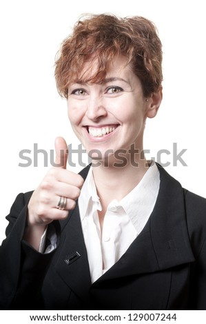 smiling success short hair business woman doing ok on white background