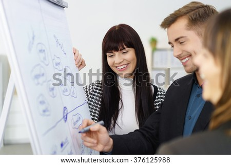 Smiling successful young business team standing together at a flip chart discussing a project with focus to a pretty stylish young woman - stock photo