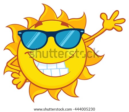Smiling Sun Cartoon Mascot Character With Sunglasses Waving For Greeting. Raster Illustration Isolated On White Background - stock photo