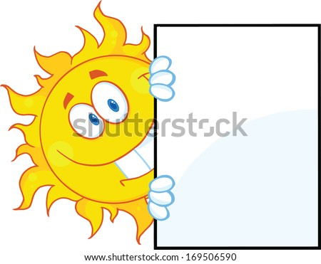 Smiling Sun Looking Around A Sign Cartoon Character. Raster Illustration Isolated on white - stock photo