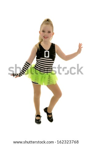 Smiling Tap Dancing Child in Jailhouse Rock Recital Costume  - stock photo