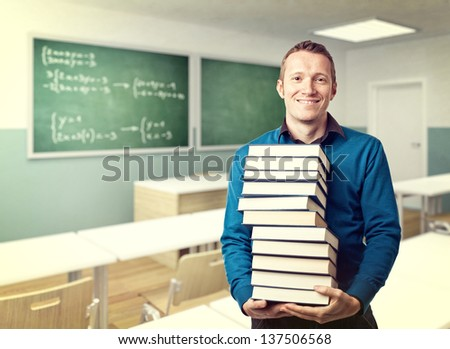 smiling teacher and class background