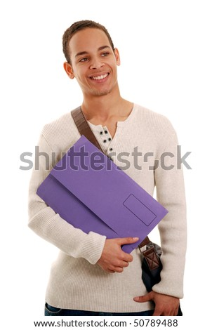 Smiling teenage boy holding file isolated on white