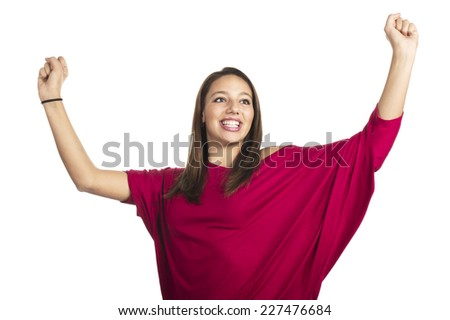 smiling teenage girl in red t-shirt jumping