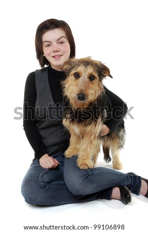 smiling teenage girl with her dachshund mix