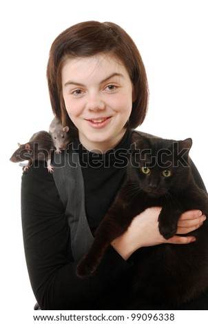 smiling teenage girl with pet rats and cat
