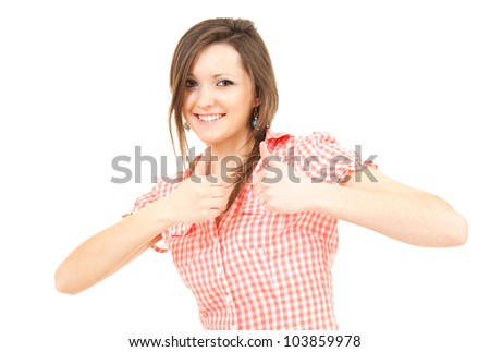 smiling teenage girl with thumbs up, white background - stock photo