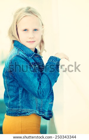 Smiling teenager girl, portrait - stock photo
