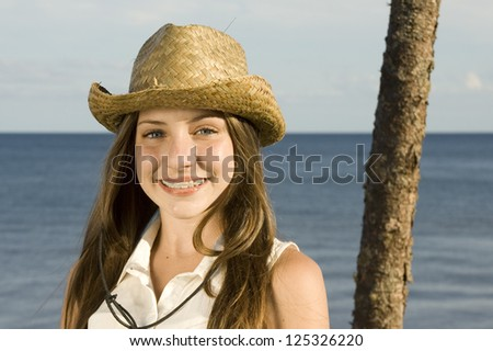 smiling teenager with braces - stock photo