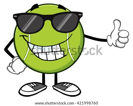 Smiling Tennis Ball Cartoon Mascot Character With Sunglasses Giving A Thumb Up. Raster Illustration Isolated On White - stock photo