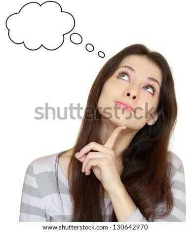 Smiling thinking girl looking up with empty bubble isolated on white background - stock photo