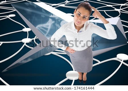 Smiling thoughtful businesswoman against shiny lines on black background