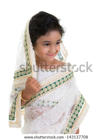 Smiling Toddler Draped in a Saree - stock photo