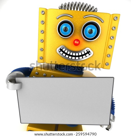 Smiling toy robot is holding up a blank sign over white background - stock photo
