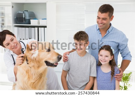 Smiling vet examining a dog with its owners in medical office - stock photo
