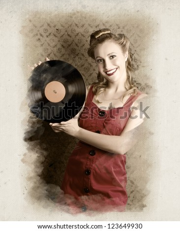 Smiling Vintage Pin-Up Girl Holding American Record In A Depiction Of 60s Rockabilly Life Style - stock photo
