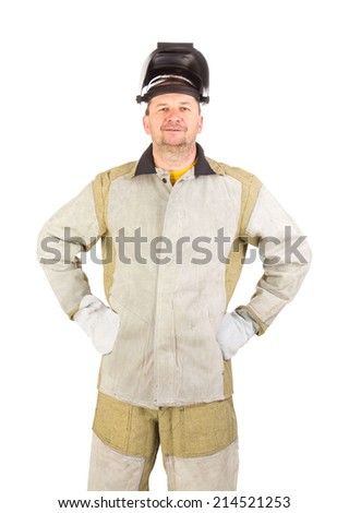 Smiling welder. Isolated on a white background.