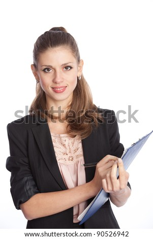 smiling white woman with planning on over white