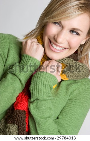 Smiling Winter Woman - stock photo