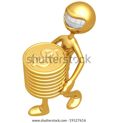 Smiling With Gold Dollar Coins - stock photo