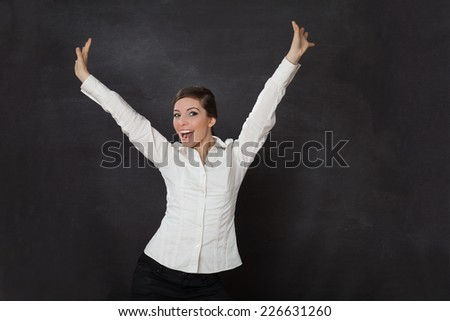 Smiling Woman blackboard/chalkboard concept - stock photo