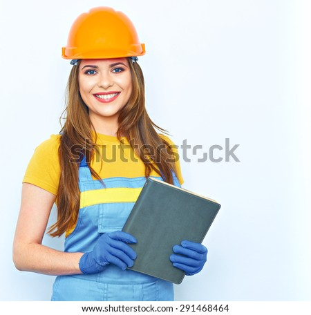 Smiling woman builder worker isolated portrait. Engineer woman hold business paper. - stock photo