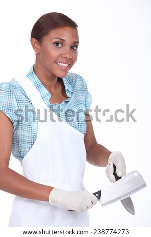 Smiling woman butcher