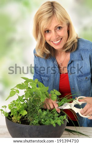 Smiling woman cutting fresh herbs from a planter.  - stock photo