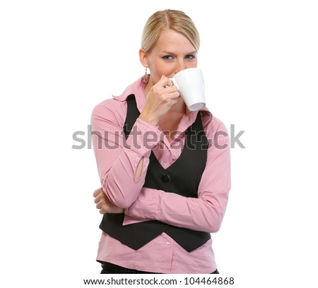 Smiling woman drinking coffee - stock photo