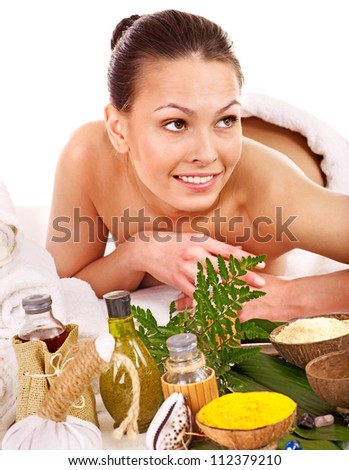 Smiling  woman getting spa treatment . Isolated.
