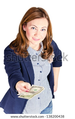 Smiling woman giving money.