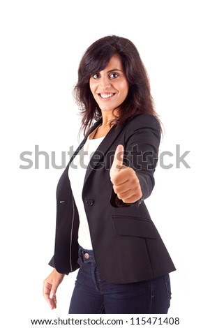 Smiling woman giving thumbs up - stock photo