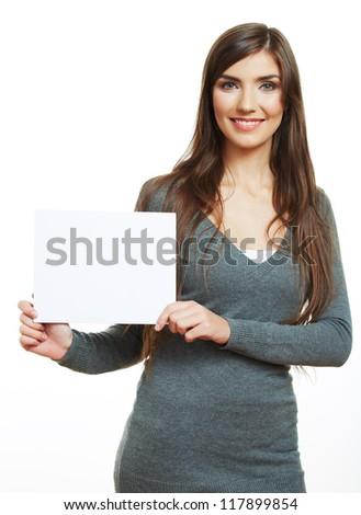 Smiling woman hold blank board . female model portrait, blank card. - stock photo