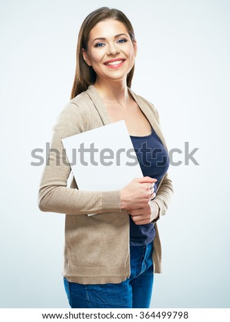 Smiling woman hold white blank sign board. Studio isolated portrait of female model with long hair. - stock photo