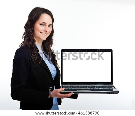 Smiling woman holding a laptop. Isolated on white