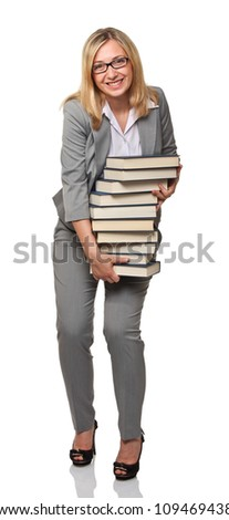 smiling woman holding big books pile - stock photo