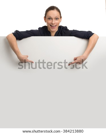 Smiling Woman holding blank card. Isolated on white background - stock photo