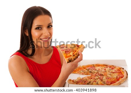 Smiling woman holding delicious pizza in carton box. Tasty fast food meal.