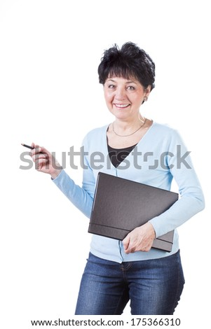 Smiling woman holding folder on white isolated background