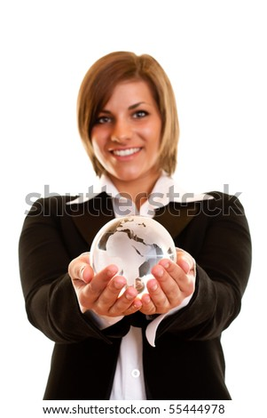 smiling woman holding globe in her hand on white