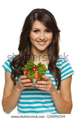 Smiling woman holding healthy salad meal, over white - stock photo
