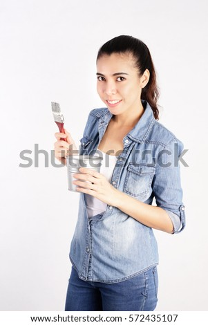 Smiling Woman Holding Painting Brush on White Background, Construction and Repair Concept
